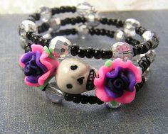 Creepy Girl Teenager Day of The Dead Bracelet by shabbyskull