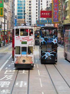 Colourful City Trams. Hong Kong #hongkong #trams