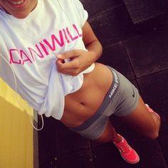 Nike shorts, workout, fit body.