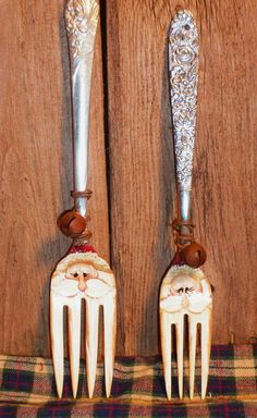 Santa Claus Hand Painted Fork Christmas by PaintingByEileen, $9.00