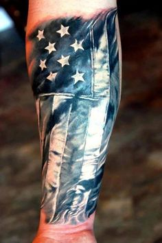 American flag forearm tattoo