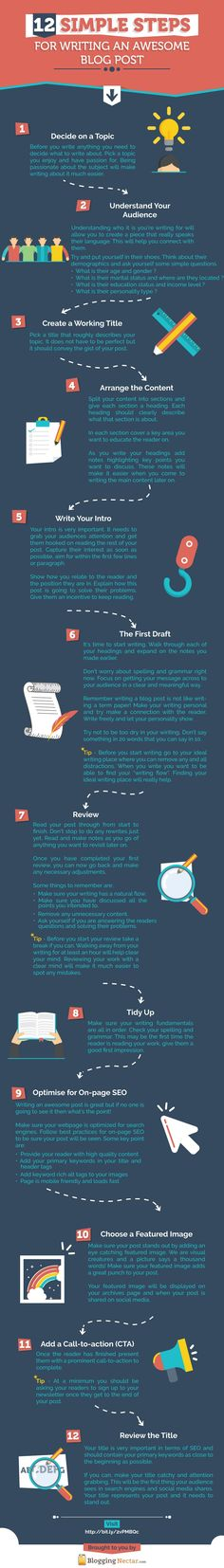 12 Simple Steps for Writing an Awesome Blog Post #[Infographic]