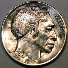 STEINAR FOSBACK - 1936 BUFFALO PROFILE Hobo Nickel, Art Forms, Sculpture Art, Coins, Miniatures, Carving, Coin Art, Profile, Rooms