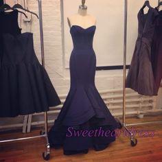 Elegant navy blue satin long sweetheart dress for prom 2016, ball gowns wedding dress #coniefox #2016prom