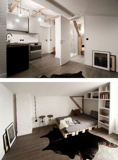 Little attic apartment in an industrial part of Sosnowiec in Poland #littleapartment #interior #loft #wnetrza #malemieszkanie