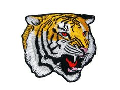 Large Tiger Face Embroidered Applique Iron on Patch
