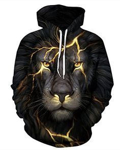 Pxmoda Womens Fashion 3D Lion Print Hoodies Sweatshirt Unisex Pullovers LXL Lightning Lion * Check this awesome product by going to the link at the image. (This is an affiliate link) #fashionsweaters