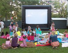 Caroline's Outdoor Movie Pajama Party | CatchMyParty.com