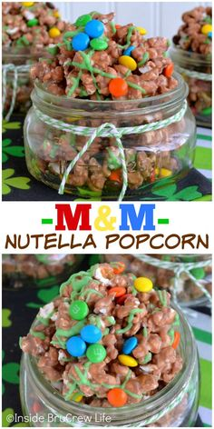 Adding Nutella and M&M candies to popcorn makes a fun sweet and salty treat!