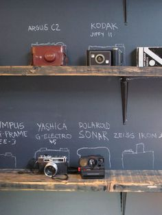 vintage cameras display. idea for our collection.