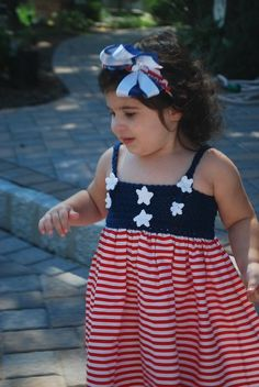 PATRIOTIC DRESS hand crochet 4th fourth of July dress by Woodfrock