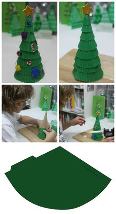How to make cupcake case Christmas trees - Mum In The Madhouse with free tree form cone template