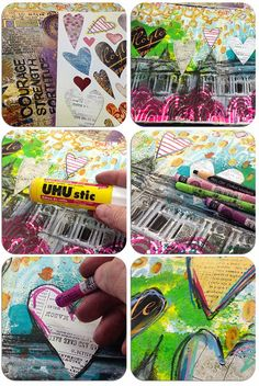 Step-by-Step Art journal page tutorial by Tangie Baxter using StencilGirl stencils with a FREE collage sheet download!