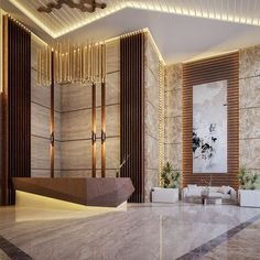 Mixed Use Bulding on Behance Corporate Office Design, Office Interior Design, Hotel Lobby Design, Modern Hotel Lobby, Reception Desk Design, Hotel Reception, Flur Design, Hall Design, Design Design