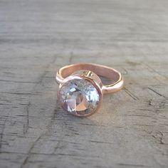 14k Rose Gold and White Topaz Gemstone, ROCK Fetish, Made to Order. $905.00, via Etsy.
