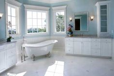 Easy What Is A Good Bathroom Color 51 on Small Home Remodel Ideas by What Is A Good Bathroom Color Do you Want a fantastic living space decoration concept? Well, for this matter, you have to know well about the What Is A Good Bathroom Color. White Master Bathroom, Classic Bathroom, Bathroom Modern, Funky Bathroom, Bathroom Paint Colors, Paint Colours, Tub Paint, Bathroom Floor Tiles, Bathroom Wall