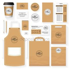 Download - Coffee shop corporate identity template design set with coffee shop logo. Restaurant cafe set card, flyer, menu, package, uniform design set. Stock vector — Stock Illustration #130604336