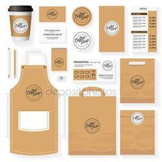Download - Coffee shop corporate identity template design set with coffee shop logo. Restaurant cafe set card, flyer, menu, package, uniform design set. Stock vector — Stock Illustration #130604336