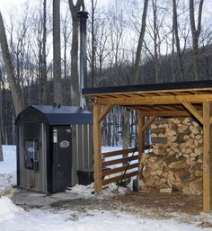 outdoor furnace and wood pile Outdoor Wood Burner, Outdoor Wood Furnace, Outdoor Stove, Firewood Storage, Wood Shed, Camping Stove, Boiler, Woodworking Projects Plans, Outdoor Projects