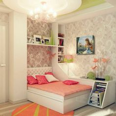chambre fille ado déco couleur corail