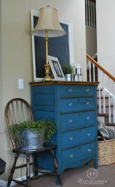 """Tallboy dresser painted with Annie Sloan's Aubusson Blue Chalk Paint and clear/dark waxed. Painted by """"The Splattered Smock"""" www.facebook.com/TheSplatteredSmock"""