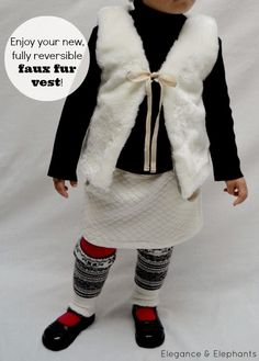 This is the tutorial I modified to make Ellie and Julia's faux vests: Elegance & Elephants: Faux Fur Vest Tutorial Toddler Fur Vest, Baby Fur Vest, Faux Fur Headband, Sewing Kids Clothes, Baby Sewing, Faux Fur Vests, Kids Outfits, T Shirts, Dress Tutorials