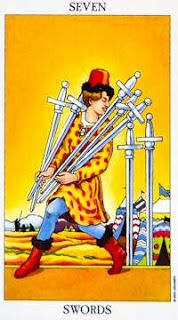 Detailed Tarot card meaning for the Seven of Swords including upright and reversed card meanings. Access the Biddy Tarot Card Meanings database - an extensive Tarot resource. Amor Aries, Taurus, Seven Of Swords, Tarot Significado, Tarot Gratis, Rider Waite Tarot, Tarot Learning, Tarot Card Meanings, Oracle Cards