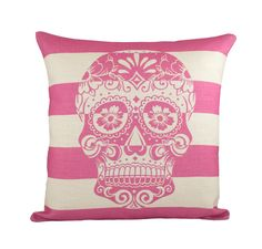 "Pink Skull Pillow Cover, Day of the Dead, Sugar Skull Throw Pillow, Cushion, Skull Decor 16"".  via Etsy."
