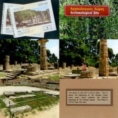 The photo to the left is Hera's alter. This is where the lightening of the Olympic Flame takes place which signifies the official beginning of the Olympic games. The flame is still lit from this spot. Travel Scrapbook, Scrapbook Pages, Scrapbooking, Olympic Flame, Archaeological Site, Athens, Olympia Greece, Place Card Holders, Vacation