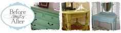 Before Meets After....I love the wide variety of colors she uses in her furniture refinishing.