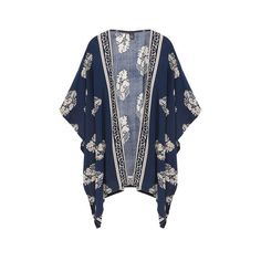 Yoins Navy Vintage Printed Kimono ($17) ❤ liked on Polyvore featuring intimates, robes, outerwear, kimono, cardigans, jackets, tops, navy, tops kimonos and vintage robe