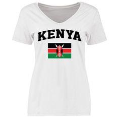 Kenya Women's Flag Slim Fit T-Shirt - White