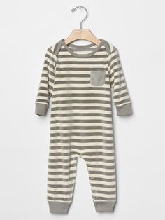 $35 Organic stripe velour one-piece Product Image