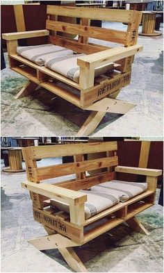 20 Brilliant DIY Pallet Furniture Design Ideas to Inspire You - diy pallet creations - Great DIY pallet ideas to try this year - Pallet Furniture Designs, Wooden Pallet Projects, Wooden Pallet Furniture, Wooden Pallets, Furniture Projects, Pallet Benches, Pallet Couch, Pallet Wood, Pallet Furniture Instructions