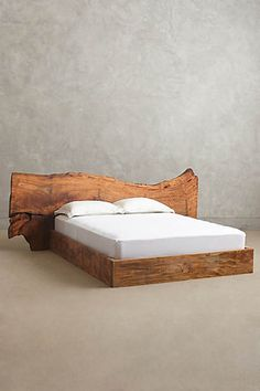 Live Edge Wood Queen Bed -you can keep the uninspired platform. Live Edge Furniture, Unique Furniture, Rustic Furniture, Home Furniture, Furniture Design, Anthropologie Bedding, Live Edge Wood, Wood Headboard, Wood Beds