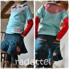 rock: farbenmix zucka in breitrib shirt: Stoffmixpulli für Mädels von Klimperklein (passen achteraf opgenaaid)