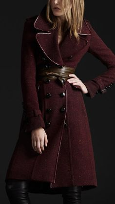 Im sensing a trend-- I seem to like all Burberry coats. Like this: Burgundy Burberry trench style coat.