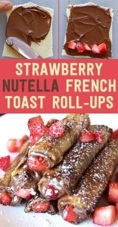 French Toast Roll Ups, Nutella French Toast, Breakfast Dessert, Perfect Breakfast, Nutella Breakfast, Nutella Snacks, Breakfast Ideas, Nutella Rolls, Breakfast Pancakes