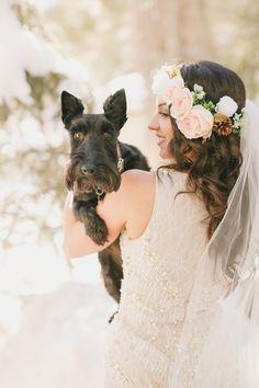 sweet bride and wedding dog