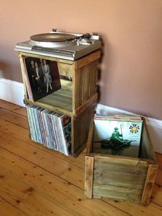 Vinyl record/LP stackable wooden crate for great looking storage and display for your album c. Vinyl record/LP stackable wooden crate for great looking storage and display for your album collection, Vinyl Storage, Lp Storage, Wood Storage, Crate Storage, Storage Ideas, Record Player Stand, Record Players, Vinyl Record Display, Vinyls