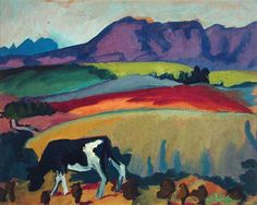 Landschaft mit Kuh. Gabriele Munter (1877-1962) was a German expressionist painter who was at the forefront of the Munich avant-garde in the early 20th century. Artists and writers associated with German Expressionism shared a rebellious attitude (influenced by the writings of Friedrich Nietzsche) toward the materialism and mores of German imperial and bourgeois society.