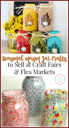 Seasonal Mason Jar Crafts to Sell at Craft Fairs & Flea Markets - Selling unique seasonal or holiday themed specialty crafts is a super easy way to earn extra cash on the side. This is an awesome list of 13 craft ideas to sell for extra money. Mason Jar Projects, Mason Jar Crafts, Crafts With Mason Jars, Lace Mason Jars, Diy And Crafts Sewing, Diy Crafts To Sell, Sell Diy, Crafts To Make And Sell Unique, Selling Crafts
