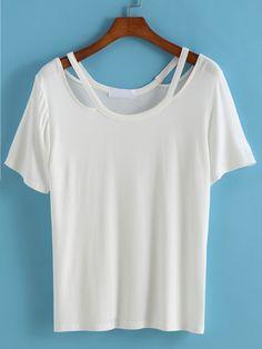 Hollow Loose White T-shirt