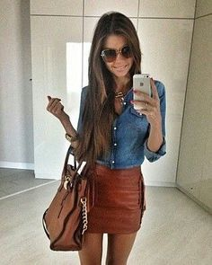 Casual : denim top, skirt, and accessories
