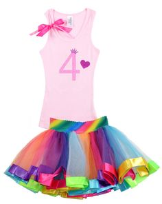 Girls Birthday, Rainbow Tutu, Princess, Rainbow Party, #4,Birthday Party, 4th Birthday, Party Dress, fourth Birthday, Heart, Bling
