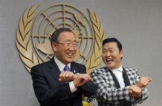 Psy goes 'Gangnam Style' with U.N. Secretary-General Ban Ki-moon. REUTERS-Eduardo Munoz