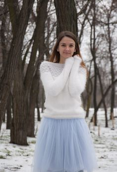 Ravelry: Winter Angel pattern by Tanya Mulokas Fluffy Sweater, Angora Sweater, Sweater Weather, Knit Patterns, To My Daughter, Autumn Fashion, Tulle, Fancy, Pullover