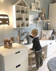 Baby Bedroom, Baby Boy Rooms, Baby Room Decor, Kids Bedroom, Diy Home Decor For Apartments, Blue Furniture, Aesthetic Room Decor, Kids Room Design, Bedroom Styles