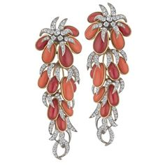Made in France (Client claims Cartier) Coral and Diamonds earrings set in and platinum with move Garnet Jewelry, Coral Jewelry, High Jewelry, Jewelry Art, Antique Jewelry, Jewelry Design, Jewlery, Platinum Earrings, Coral Earrings