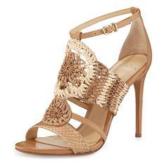 Jenne Crochet High-Heel Sandal, Tropic Latte by Alexandre Birman at Neiman Marcus. Ankle Strap High Heels, Open Toe High Heels, Ankle Wrap Sandals, Caged Sandals, Heeled Sandals, Strap Sandals, Shoes Sandals, Crochet Shoes Pattern, Shoe Pattern